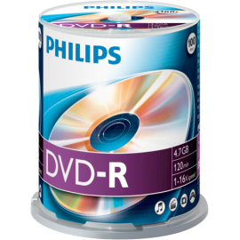 1x100 Philips DVD-R 4,7GB 16x SP