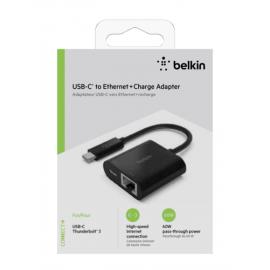 Belkin USB-C / Gigabit-Ethernet- Adapter 60W PD, black INC001btBK
