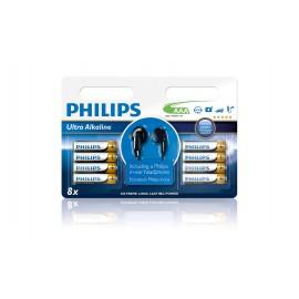 Philips Ultra Alkaline Battery AAA LR03E8BHP/10 8x