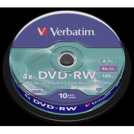 1x10 Verbatim DVD-RW 4,7GB 4x Speed, matte silver Cakebox