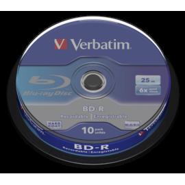 1x10 Verbatim BD-R Blu-Ray 25GB 6x Speed, white blue Cakebox