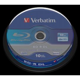 1x10 Verbatim BD-R Blu-Ray 50GB 6x Speed, white blue Cakebox