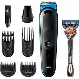 Braun 7-in-1 Trimmer MGK5245 Men Beard Trimmer, Face Trimmer & Hair Clipper, Black/Blue