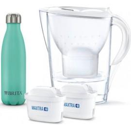 Brita Κανάτα Marella Maxtra Πλαστική Με Καπάκι 2400ml + 2 Filter Cartridges +Thermal Flask